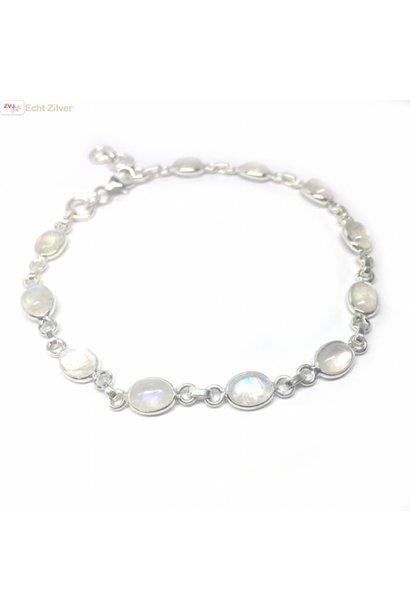 Zilveren armband regenboog maansteen