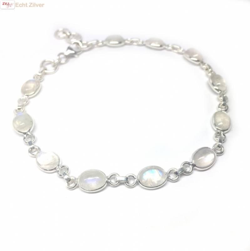 Zilveren armband regenboog maansteen-1