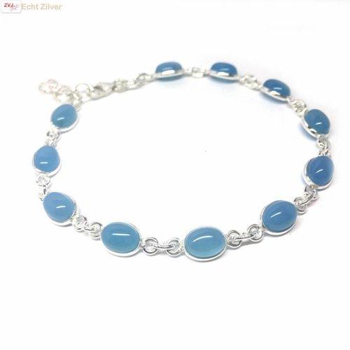 ZilverVoorJou Zilveren armband blauwe chalcedoon