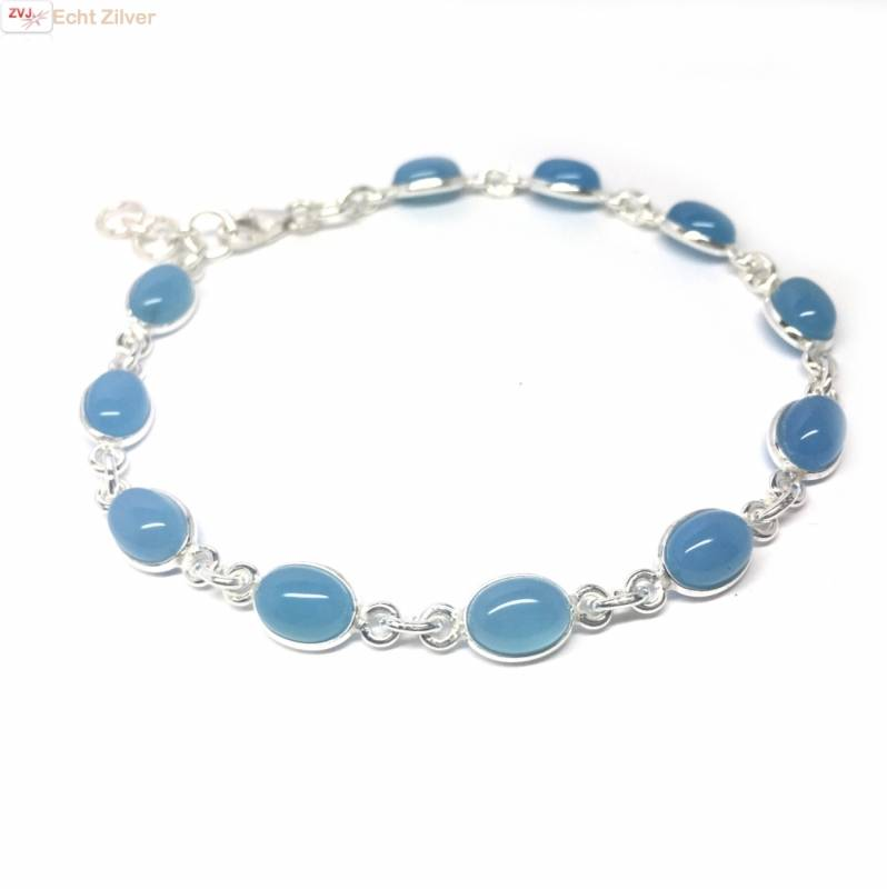 Zilveren armband blauwe chalcedoon-1
