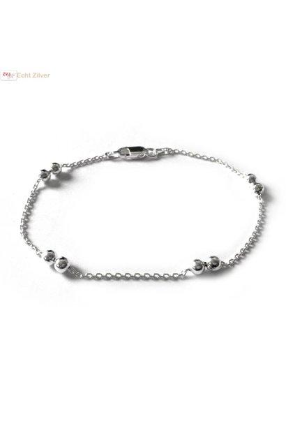 Zilveren 8 balletje armbandje