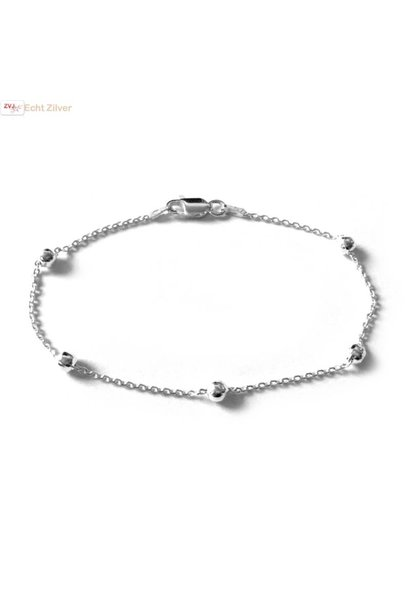 Zilveren 5 balletjes  armbandje