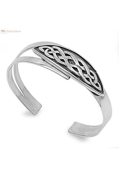 Zilveren Keltische design klemarmband