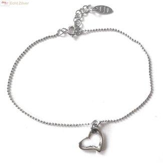 ZilverVoorJou Zilveren open hartje  armbandje