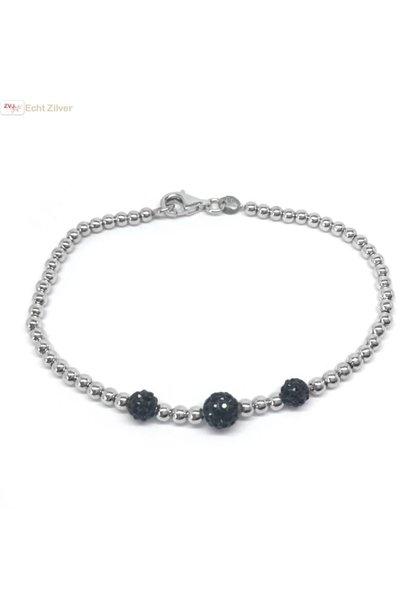 Zilveren balletjes armband 3 zwarte bling kristallen