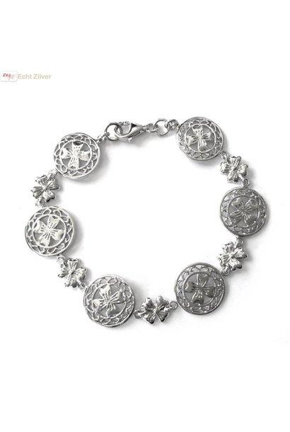 Zilveren klassieke klaver vier armband