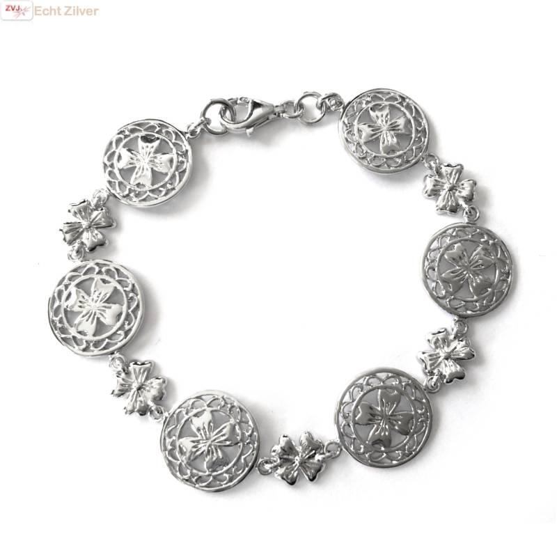 Zilveren klassieke klaver vier armband-1