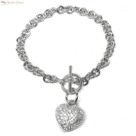 ZilverVoorJou Zilveren rolo kapittelsluiting hart hanger armband