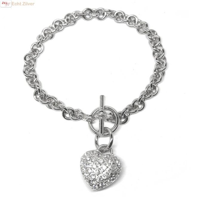 Zilveren rolo kapittelsluiting hart hanger armband
