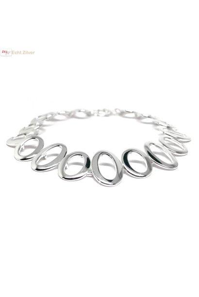 Zilveren fantasie armband met ovale schakels