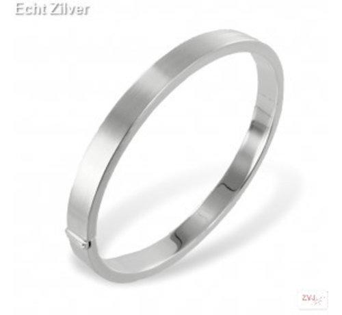 ZilverVoorJou Zilveren zijdemat ovale slavenarmband 64x56 7mm breed