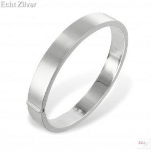 ZilverVoorJou Zilveren zijdemat ovale slavenarmband 64x56 10.5mm breed