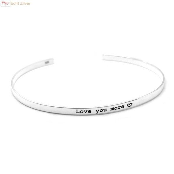 Zilveren klemarmband Love you more