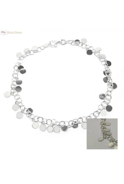 Zilveren feestelijke ibiza style cirkeltjes armband