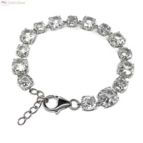 ZilverVoorJou Zilveren armband witte zirkoon rhodium