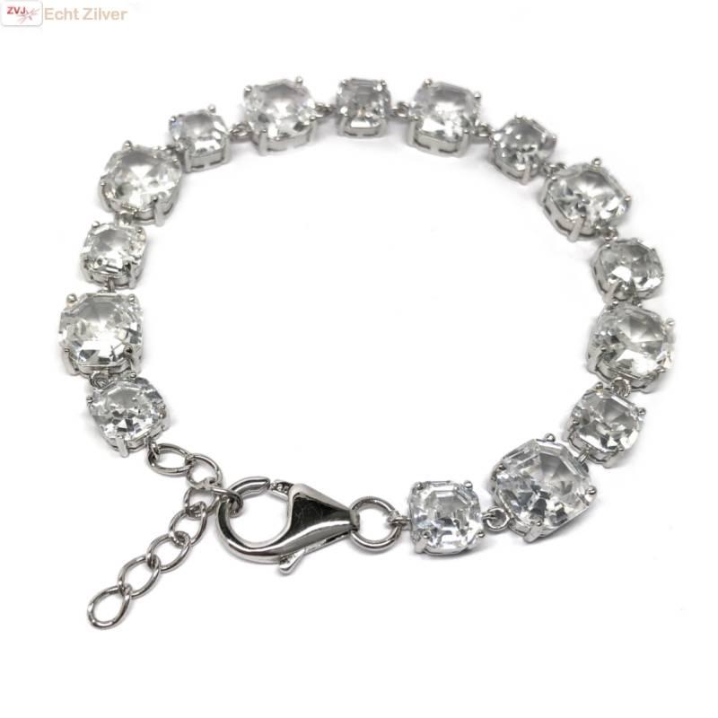 Zilveren armband witte zirkoon rhodium-1