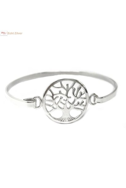 Zilveren tree of life levensboom bangle armband