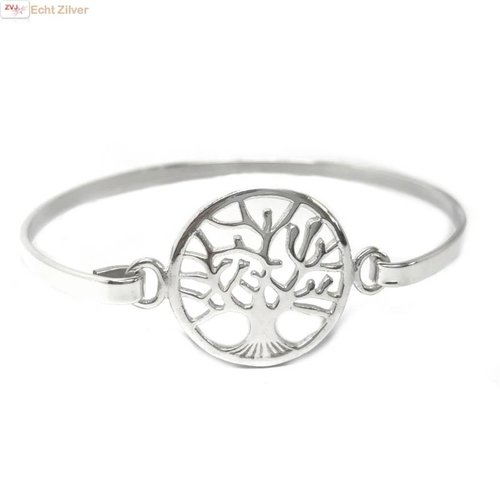 ZilverVoorJou Zilveren tree of life levensboom bangle armband
