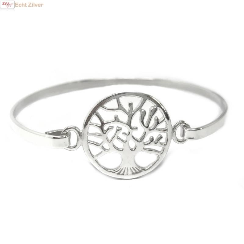 Zilveren tree of life levensboom bangle armband-1