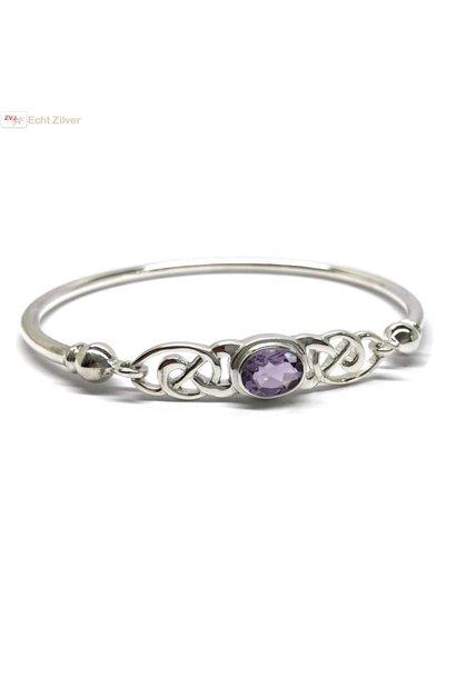 Zilveren keltische armband met paarse amethist