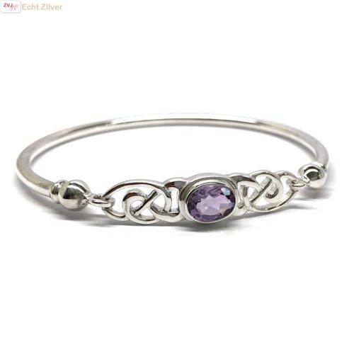ZilverVoorJou Zilveren keltische armband met paarse amethist