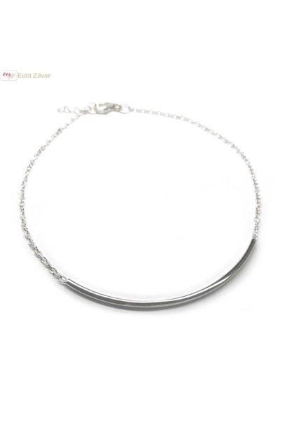 Zilveren bar staaf armbandje