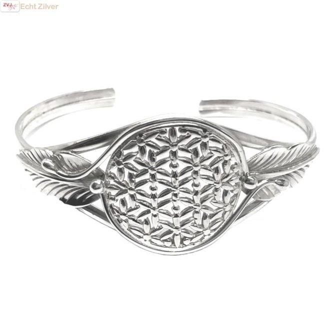 Zilveren levensbloem cuff armband