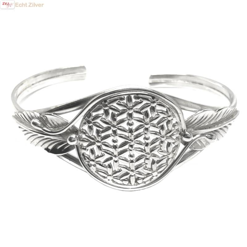 Zilveren levensbloem cuff armband-1