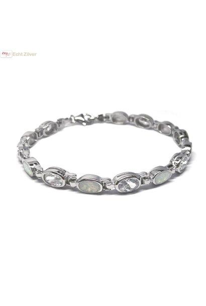 Zilveren witte opaal en zirkonia armband