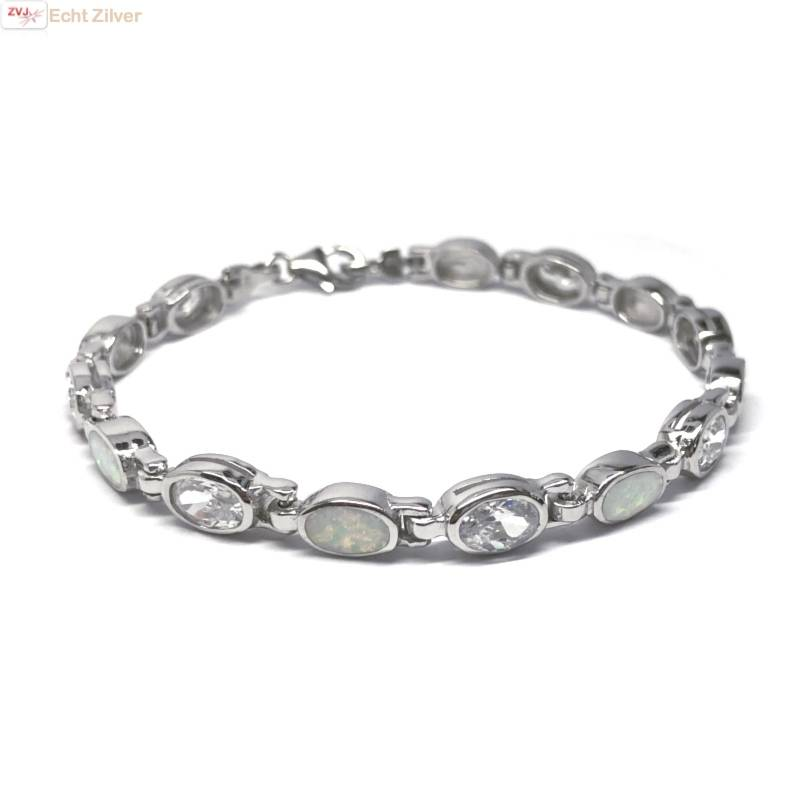 Zilveren witte opaal en zirkonia armband-1