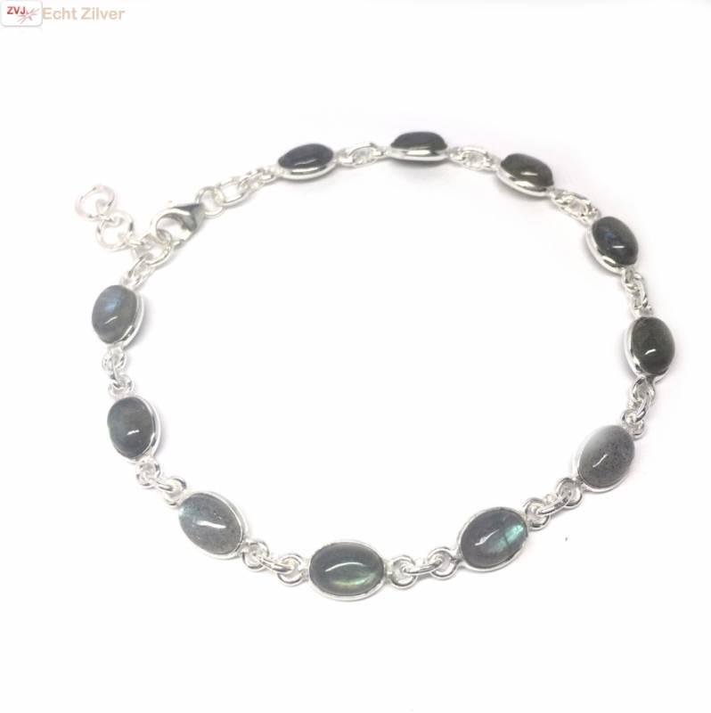 Zilveren armband labradoriet edelsteentjes-1
