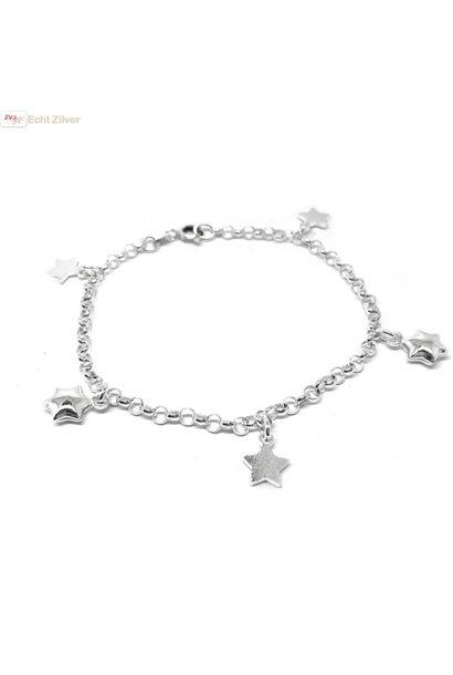 Zilveren bedelarmband met sterren