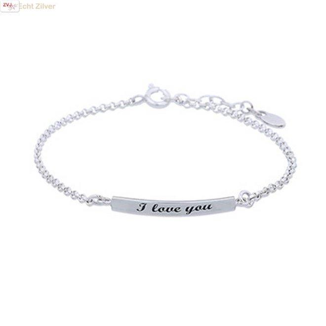 Zilveren I love you armbandje
