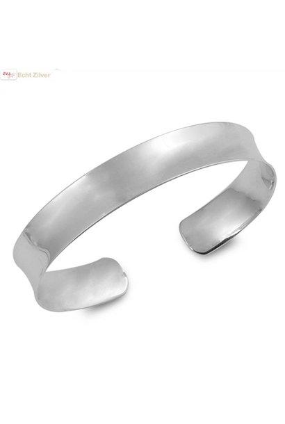 Zilveren hoogglans klemarmband