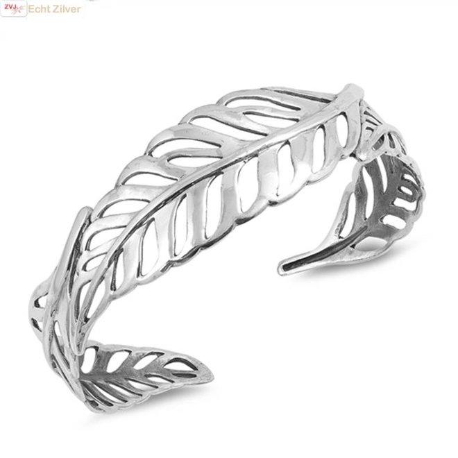 Zilveren design veer klemarmband