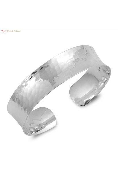 Zilveren gehamerde klemarmband