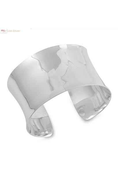 Zilveren 4 cm brede hoogglans klemarmband