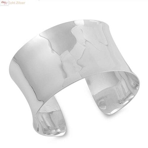ZilverVoorJou Zilveren 4 cm brede hoogglans klemarmband