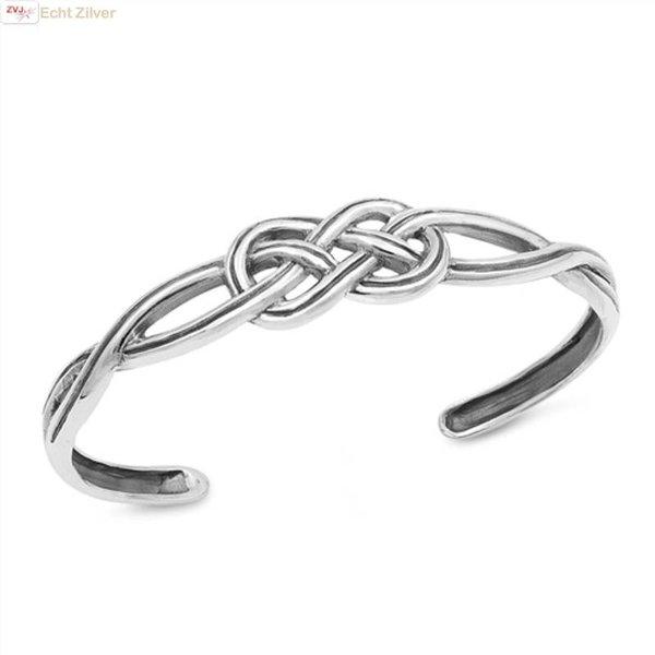 Zilveren keltische knoop klemarmband