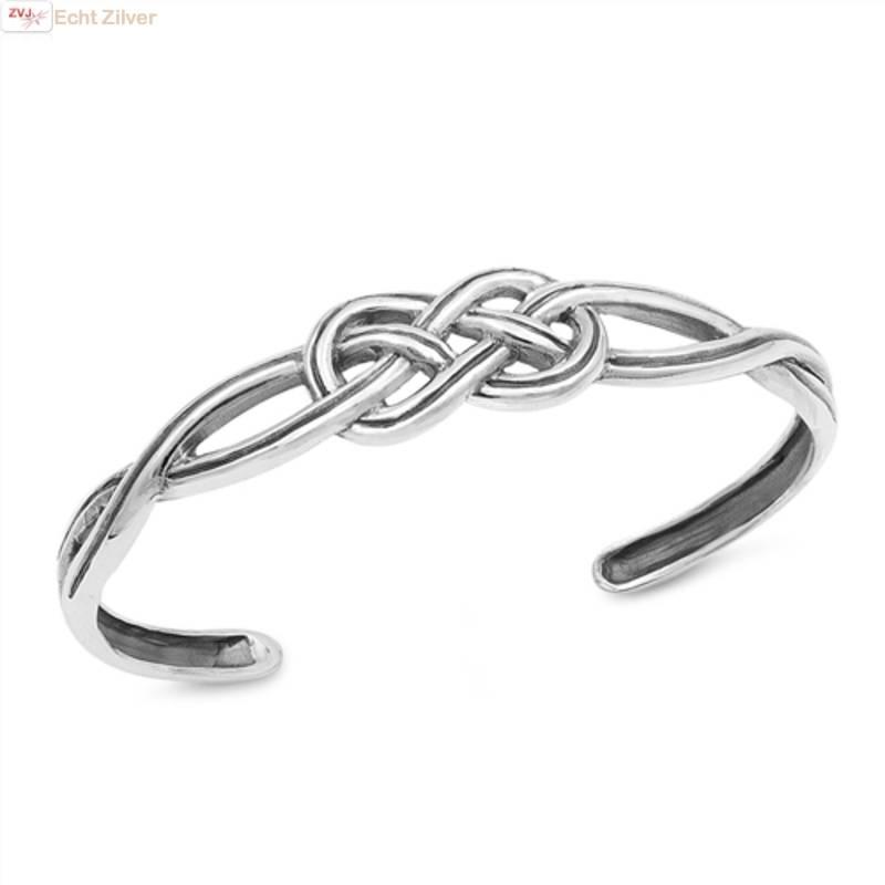 Zilveren keltische knoop klemarmband-1
