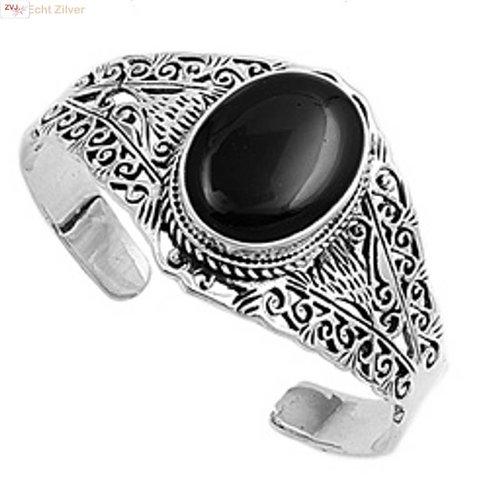 ZilverVoorJou Zilveren sierlijke klemarmband met zwarte onyx steen