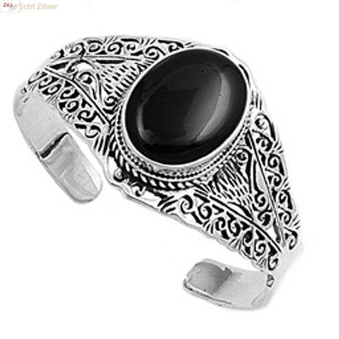 Zilveren sierlijke klemarmband met zwarte onyx steen