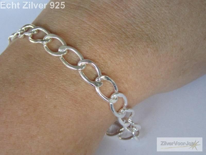 Zilveren bedel schakel armband 18 cm-2