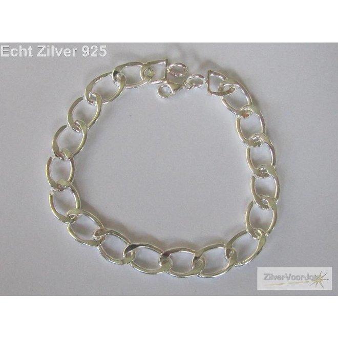 Zilveren bedel schakel armband 18 cm
