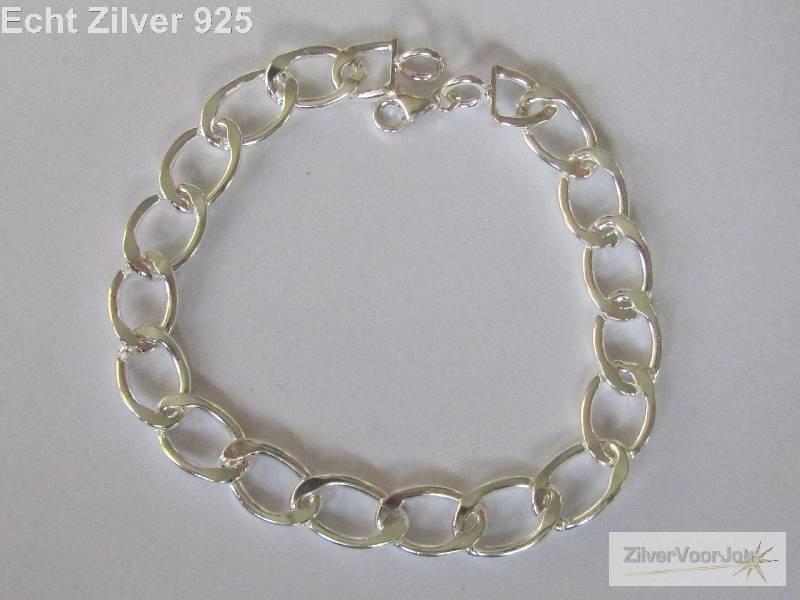 Zilveren bedel schakel armband 18 cm-3