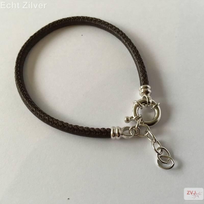 Zilveren musketon ketting sluiting bruin leren armband-2