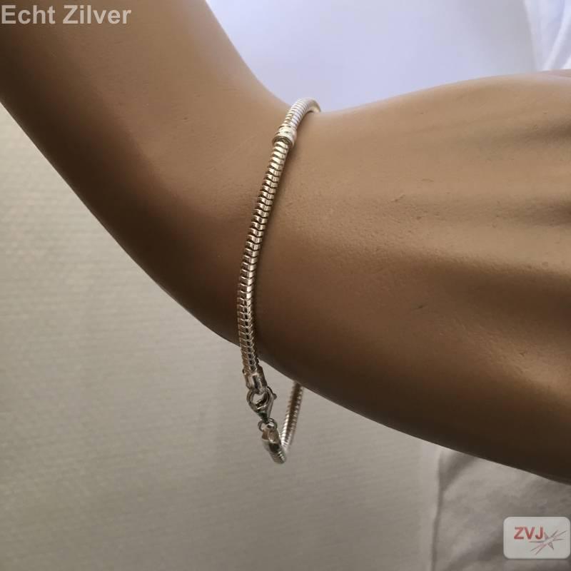 zilveren slangen armband 2 spacers 22 cm-2