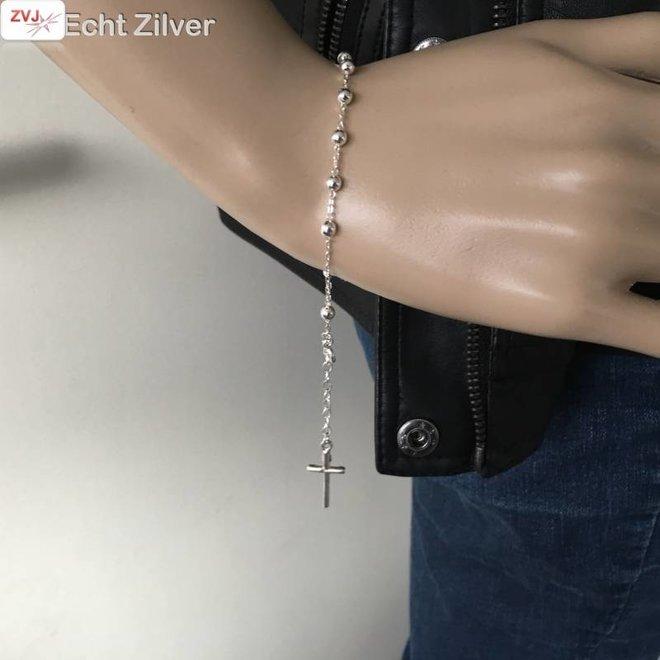 Zilveren rosario rozenkrans armband