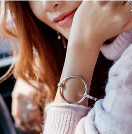 Zilveren grote cirkel bangle armband-2