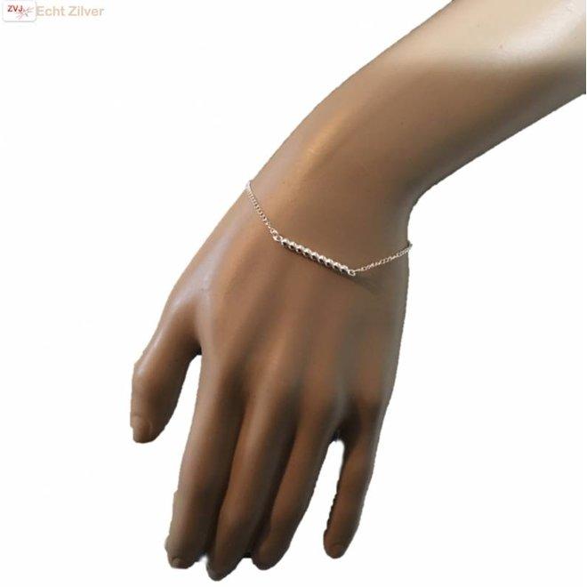Zilveren 9 balletjes armbandje